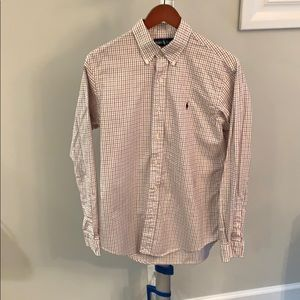 Men's red and black check polo
